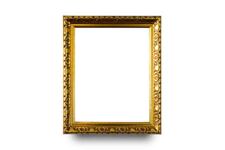 Close up gold frame isolated on white background with clipping path.