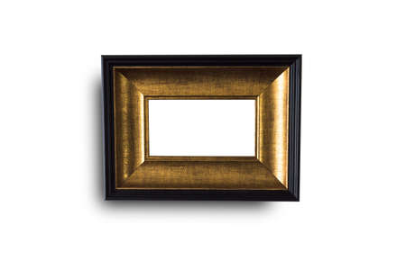 Close up black and gold  frame isolated on white background with clipping path.