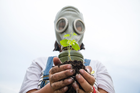 sprout growth: a plant and a man with mask Stock Photo