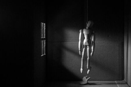 hanged: Wooden puppet hanged