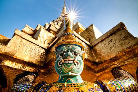 Carrying giant golden pagoda 写真素材