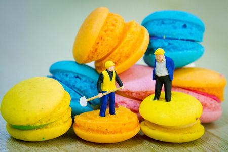 tiny: Tiny toys made macaroons Stock Photo