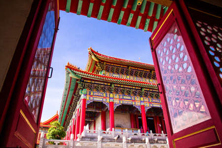 bluesky: Chinese temple with bluesky day Stock Photo