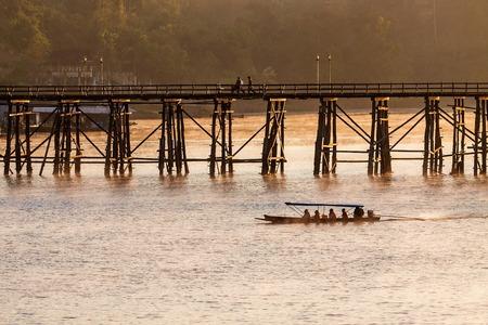 longest: The longest wooden bridge with the morning light. Stock Photo
