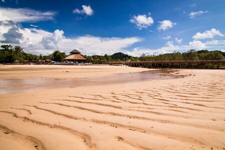 tide: Resort island at low tide. Stock Photo