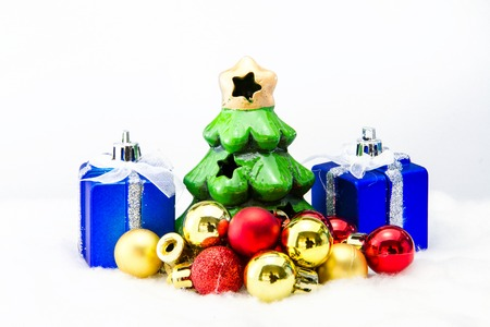 dacorated: Christmas tree with gifts on white background