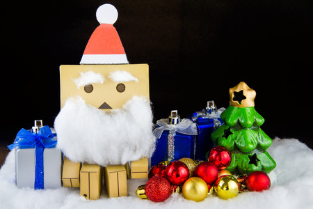 distributing: Santa Claus toy happiness in Christmas day