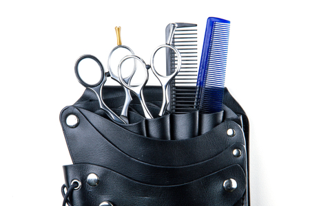 comb hair: hair cutting scissors and comb for professional hairdressers