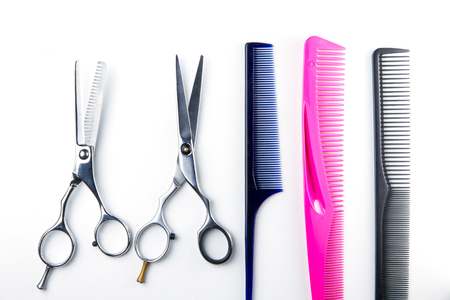 clippers comb: hair cutting scissors and comb for hairdressers Stock Photo