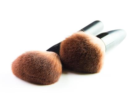 blusher: make up brush powder blusher isolated on white background. Stock Photo