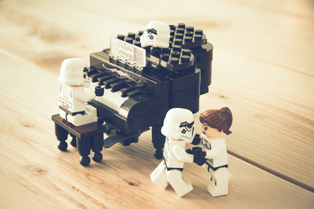 stormtrooper: Nonthaburi, Thailand - December 28, 2015: The lego Star Wars mini figures from movie series, Lego is an interlocking brick system collected around the world by adults and children.