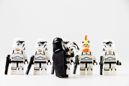 stormtrooper: Nonthaburi, Thailand - December 29, 2015: The lego Star Wars mini figures from movie series on isolated white background, Lego is an interlocking brick system collected around the world by adults and children.