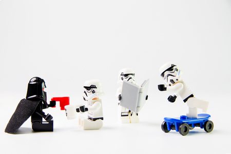 Nonthaburi, Thailand - December 29, 2015: The lego Star Wars mini figures from movie series on isolated white background, Lego is an interlocking brick system collected around the world by adults and children.