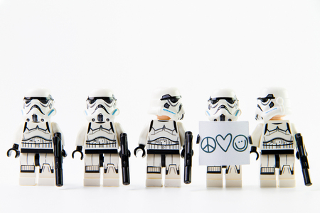 stormtrooper: Nonthaburi, Thailand - December 31, 2015: The lego Star Wars mini figures from movie series on isolated white background, Lego is an interlocking brick system collected around the world by adults and children. Editorial