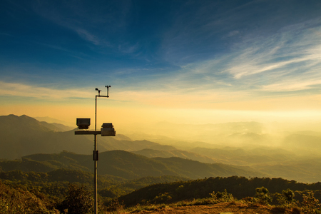The wind anemometer with landscape
