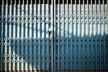 steel door: old blue steel door closed Stock Photo