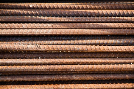 concreting: Steel deformed bars for concreting reinforcement. Stock Photo