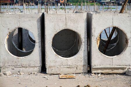 manhole: Manhole of drainage pipe under construction.