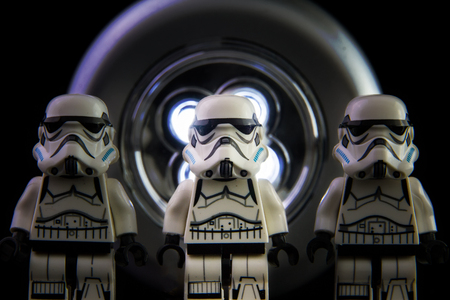 stormtrooper: Nonthabure, Thailand - February, 24, 2016: Lego star wars stormtrooper on isolated black background.The lego Star Wars mini figures from movie series on isolated black background, Lego is an interlocking brick system collected around the world by adults a