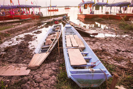 rowboats: Wooden rowboats for the tourists in Thailand. Stock Photo