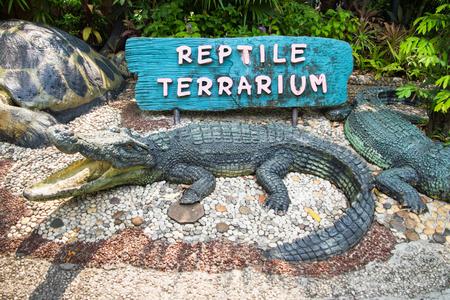 reptile: Signs entrance Reptile Exhibit Stock Photo