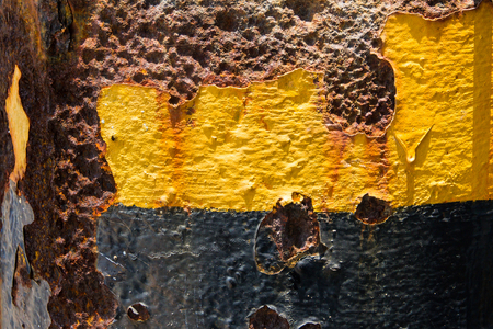 abrasion: Grunge vintage rusty metal plate yellow patterned abrasions texture, backgound image.