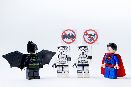 Nonthabure, Thailand - May, 22, 2016 : LEGO minifigure Batman VS Superman and stormtrooper .The lego Batman and Superman mini figures from movie .Lego is an interlocking brick system collected around the world. 報道画像