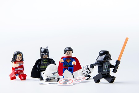 stormtrooper: Nonthabure, Thailand - May, 22, 2016 : LEGO minifigure Batman, Superman, Stormtrooper and darth vader.The lego Batman and Superman mini figures from movie .Lego is an interlocking brick system collected around the world. Editorial