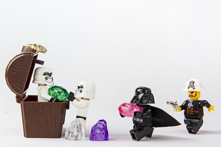 stolen: Nonthabure, Thailand - June, 23, 2016: Lego star wars stolen pirate treasure.The lego Star Wars mini figures from movie series.Lego is an interlocking brick system collected around the world.