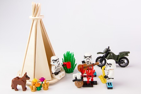Nonthabure, Thailand - June, 23, 2016: Lego star wars camping vacations.The lego Star Wars mini figures from movie series.Lego is an interlocking brick system collected around the world. Redakční