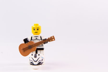 collectible: Nonthabure, Thailand - June, 23, 2016: Lego star wars guitarist .The lego Star Wars mini figures from movie series.Lego is an interlocking brick system collected around the world.