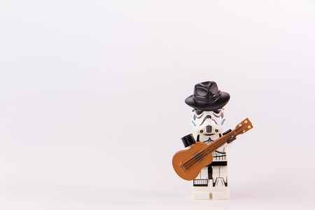 Nonthabure, Thailand - June, 23, 2016: Lego star wars guitarist .The lego Star Wars mini figures from movie series.Lego is an interlocking brick system collected around the world.