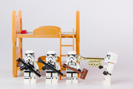 collectible: Nonthabure, Thailand - June, 24, 2016: Lego star wars wake up .The lego Star Wars mini figures from movie series.Lego is an interlocking brick system collected around the world. Editorial