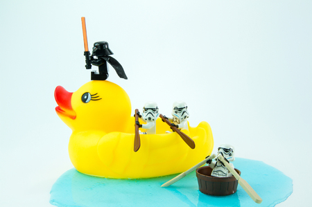 Nonthabure, Thailand - July, 10, 2016: Lego star wars paddle yellow rubber duck.The lego Star Wars mini figures from movie series.Lego is an interlocking brick system collected around the world. Editorial