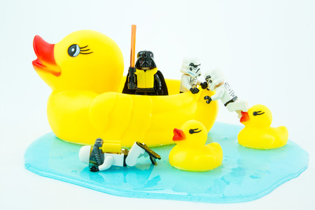 collectible: Nonthabure, Thailand - July, 10, 2016: Lego star wars Transport yellow rubber duck.The lego Star Wars mini figures from movie series.Lego is an interlocking brick system collected around the world.