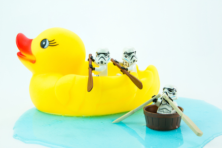 Nonthabure, Thailand - July, 10, 2016: Lego star wars paddle yellow rubber duck.The lego Star Wars mini figures from movie series.Lego is an interlocking brick system collected around the world. Redakční