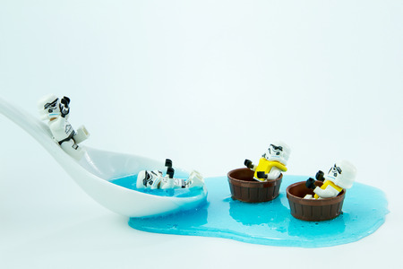 slide glass: Nonthabure, Thailand - July, 10, 2016: Lego star wars play slide into the water.The lego Star Wars mini figures from movie series.Lego is an interlocking brick system collected around the world.