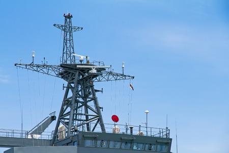 antennas: Communication mast showing range of antennas and dishes on battleship.