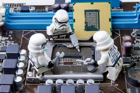 Nonthabure, Thailand - May, 05, 2016: Lego star wars repairing computer motherboard.The lego Star Wars mini figures from movie series.Lego is an interlocking brick system collected around the world. Redakční