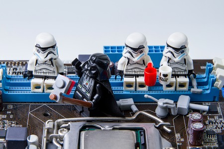 Nonthabure, Thailand - May, 05, 2016: Lego star wars take photos selfie.The lego Star Wars mini figures from movie series.Lego is an interlocking brick system collected around the world.