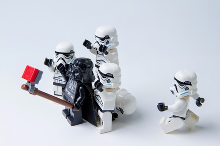 Nonthabure, Thailand - May, 05, 2016: Lego star wars are selfie.The lego Star Wars mini figures from movie series.Lego is an interlocking brick system collected around the world.