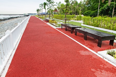 nonslip: Seaside Park.Floor walkway with non-slip rubber surface.