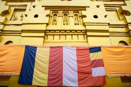 bodhgaya: Golden Buddha Statue in Bodhgaya Stupa or Phuthakaya Pagoda at Sangklaburi, Kanchanaburi, Thailand.