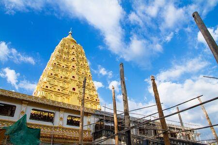 bodhgaya: Bodhgaya Stupa or Phuthakaya Pagoda at Sangklaburi, Kanchanaburi, Thailand. Editorial