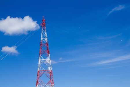 superconductor: View of electricity pylon against a clear blue sky Stock Photo