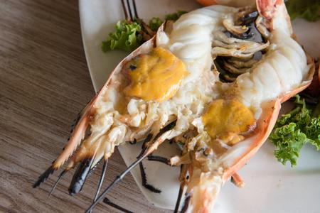 Grilled fresh river prawn,thai style food at Thailand restaurant Stock Photo