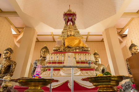 Ayutthaya, Thailand - March, 11, 2017 : Golden buddha statue in Wat cheing len temple Thailand