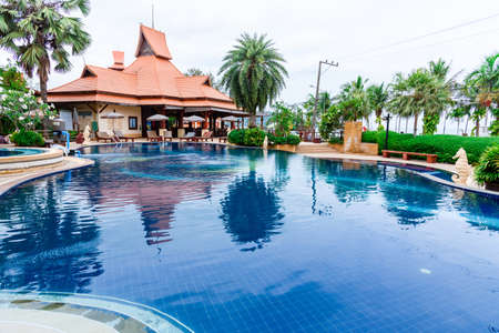 Prachuap Khiri Khan, Thailand - April, 18, 2017 : Swimming pool of Baan Grood Arcadia Resort & Spa in Thongchai Sub district, Bangsapan District, Prachuap Khiri Khan, Thailand