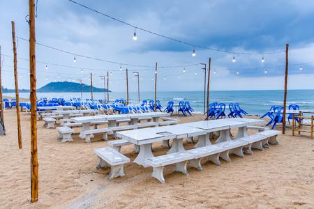 pla: Prachuap Khiri Khan, Thailand - April, 18, 2017 : Seating restaurant seaside of Pla too seafood restaurant in Thongchai Sub district, Bangsapan District, Prachuap Khiri Khan, Thailand