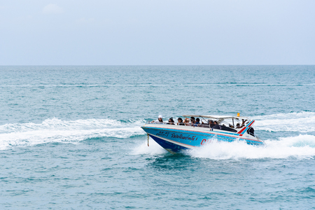 Rayong, Thailand - April, 28, 2017 : Unidentified name Tourists are traveling with speedboat to go to the Same island, Rayong, Thailand